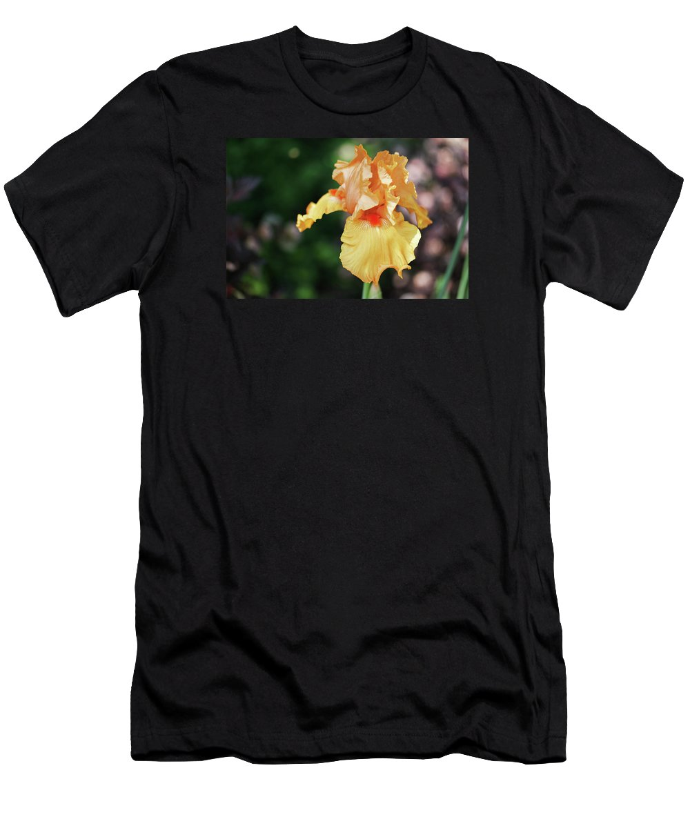 Iris Men's T-Shirt (Athletic Fit) featuring the photograph Orange Iris1 by Nancy Aurand-Humpf