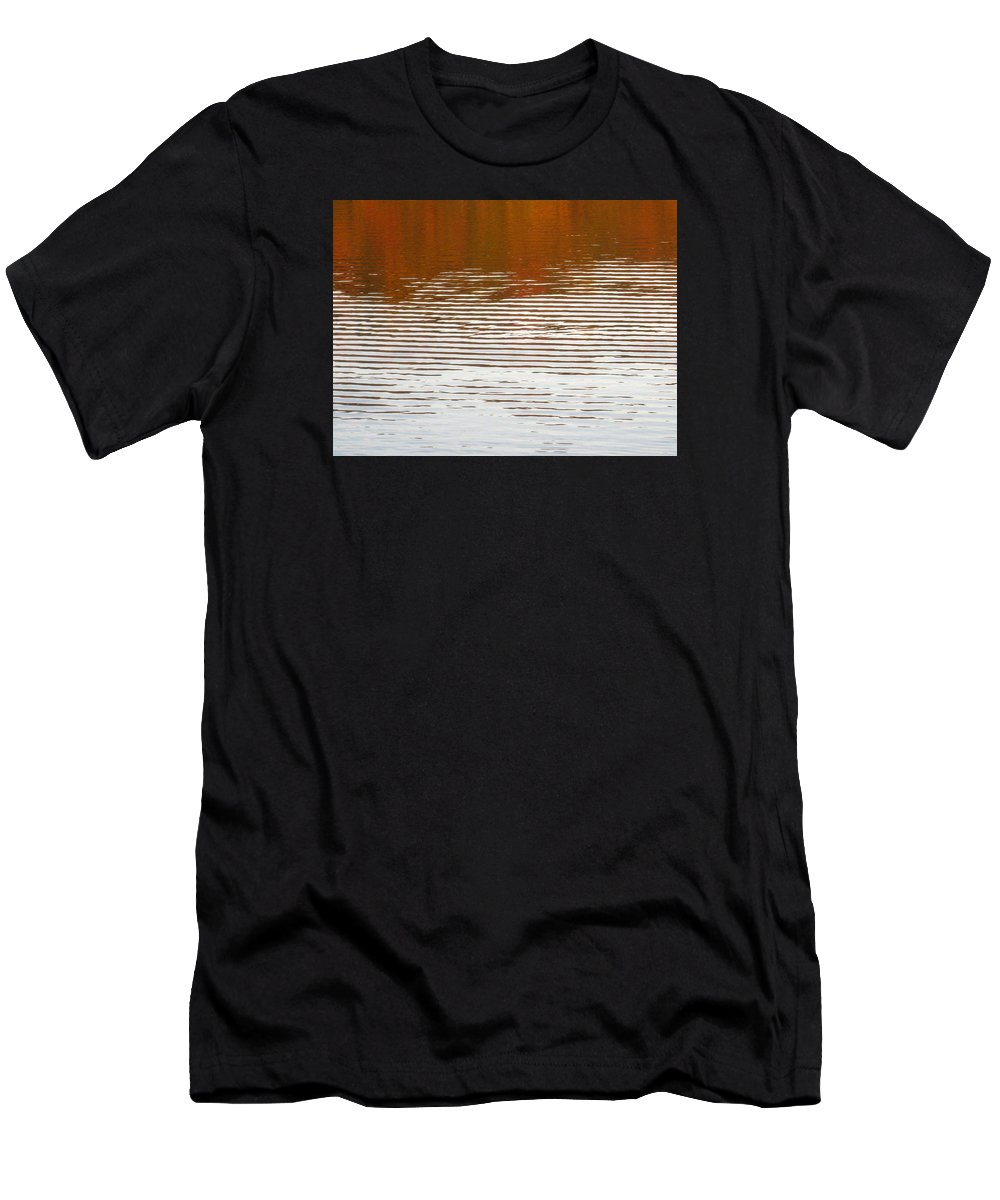 Water Men's T-Shirt (Athletic Fit) featuring the photograph Reflections Of Fall Leaves And Sunlit Ripples On Jamaica Pond by Giora Hadar