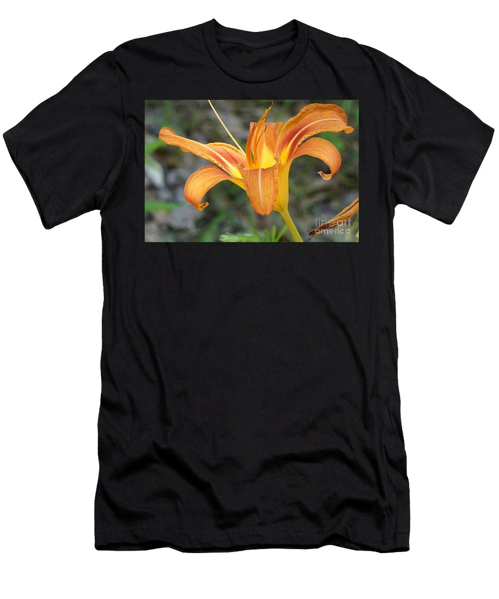 Lily Men's T-Shirt (Athletic Fit) featuring the photograph Orange Lily by Maxine Billings
