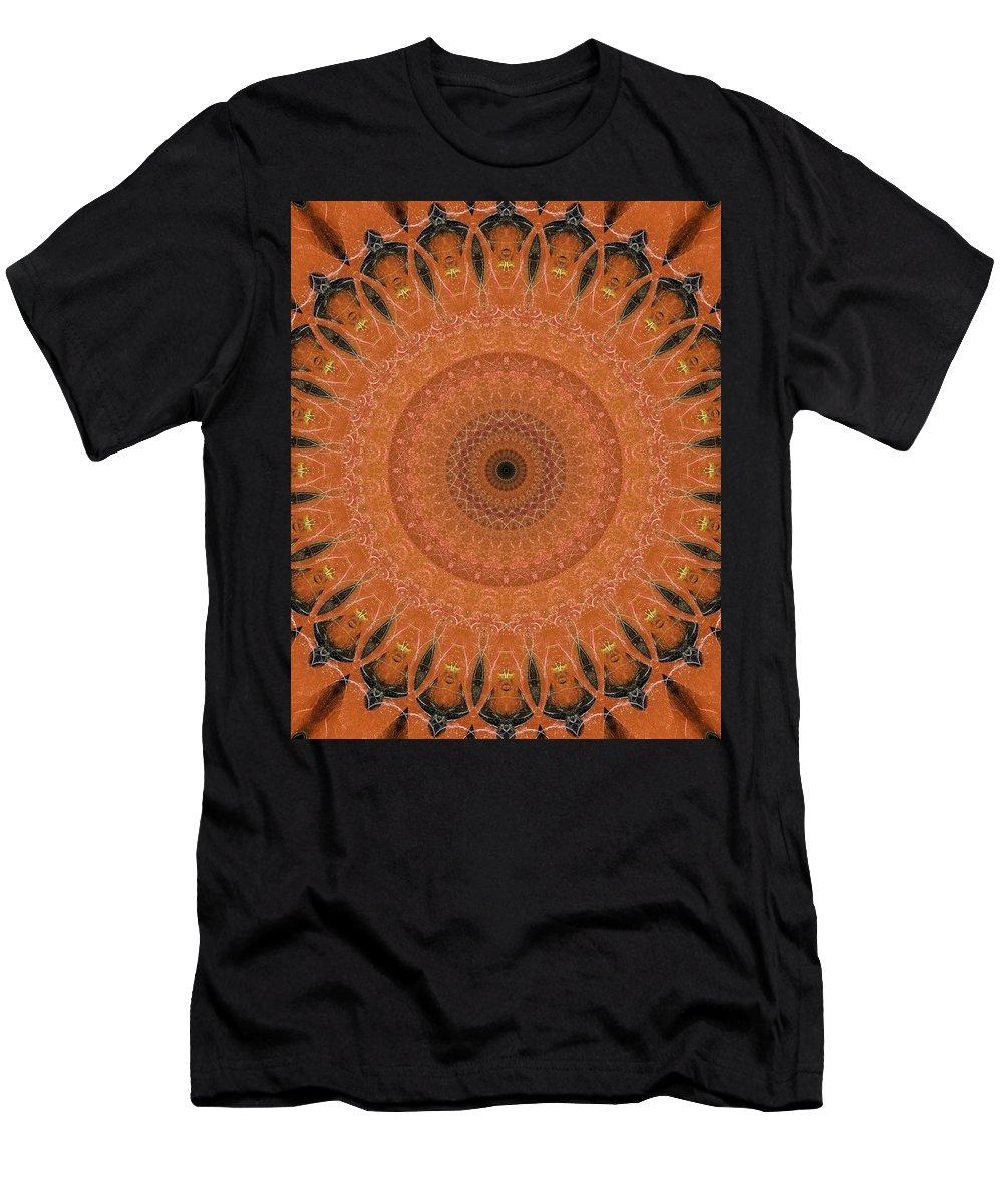 Mandala Men's T-Shirt (Athletic Fit) featuring the digital art Orange Mandala by Jaroslaw Blaminsky