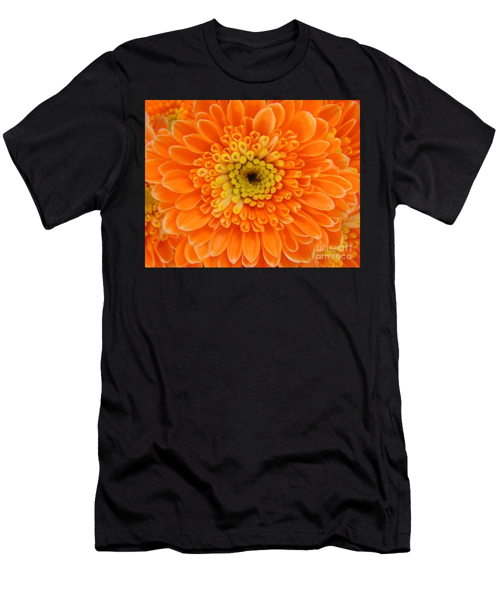 Nature Men's T-Shirt (Athletic Fit) featuring the photograph Orange Mum In Detail by Lucyna A M Green