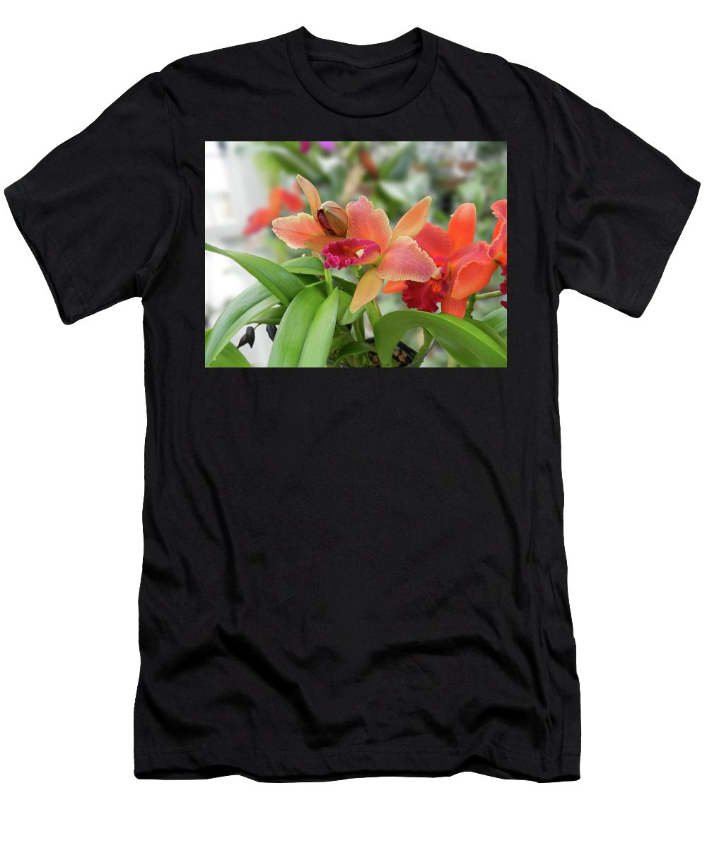 Orchids Men's T-Shirt (Athletic Fit) featuring the photograph Orange Orchids 2 by Nancy Aurand-Humpf
