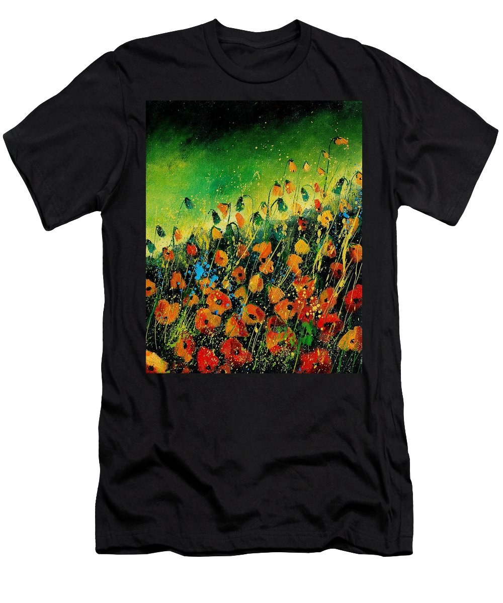 Poppies Men's T-Shirt (Athletic Fit) featuring the painting Orange Poppies 459080 by Pol Ledent