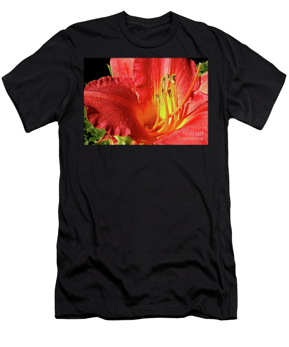 Orange Red Day Lily Men's T-Shirt (Athletic Fit) featuring the photograph Orange-red Day Lily by Kaye Menner
