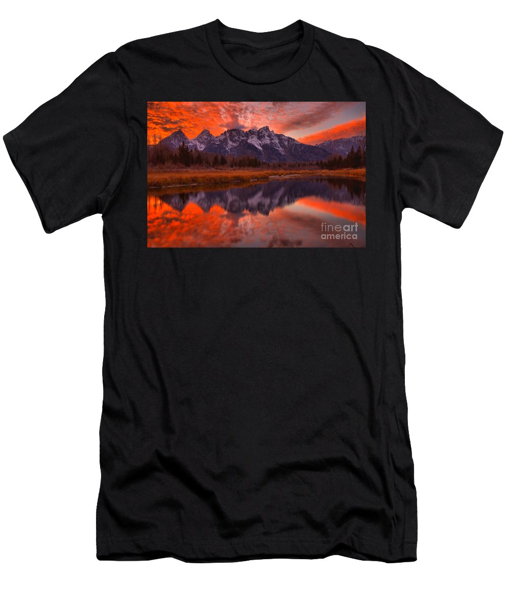 Schwabacher Landing Men's T-Shirt (Athletic Fit) featuring the photograph Orange Skies Over The Tetons by Adam Jewell