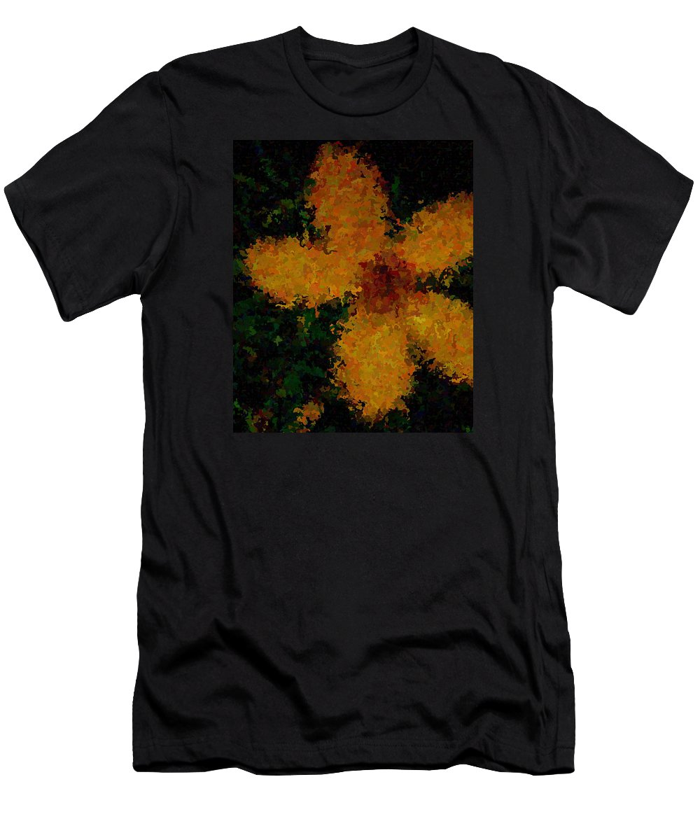 Flower Men's T-Shirt (Athletic Fit) featuring the painting Orange-yellow Flower by April Patterson