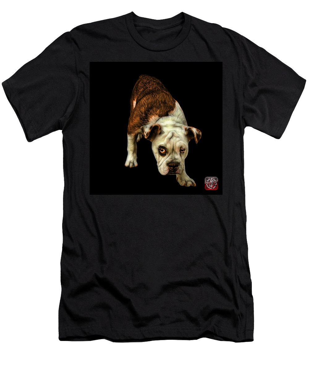 Bulldog Men's T-Shirt (Athletic Fit) featuring the painting Orangeenglish Bulldog Dog Art - 1368 - Bb by James Ahn