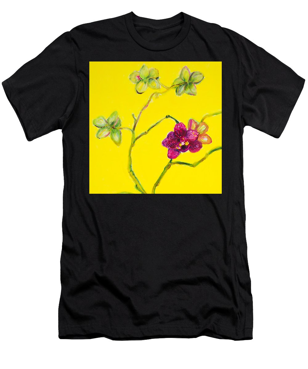 Orchid Men's T-Shirt (Athletic Fit) featuring the painting Orchid And Amarillo by Sharon Allen
