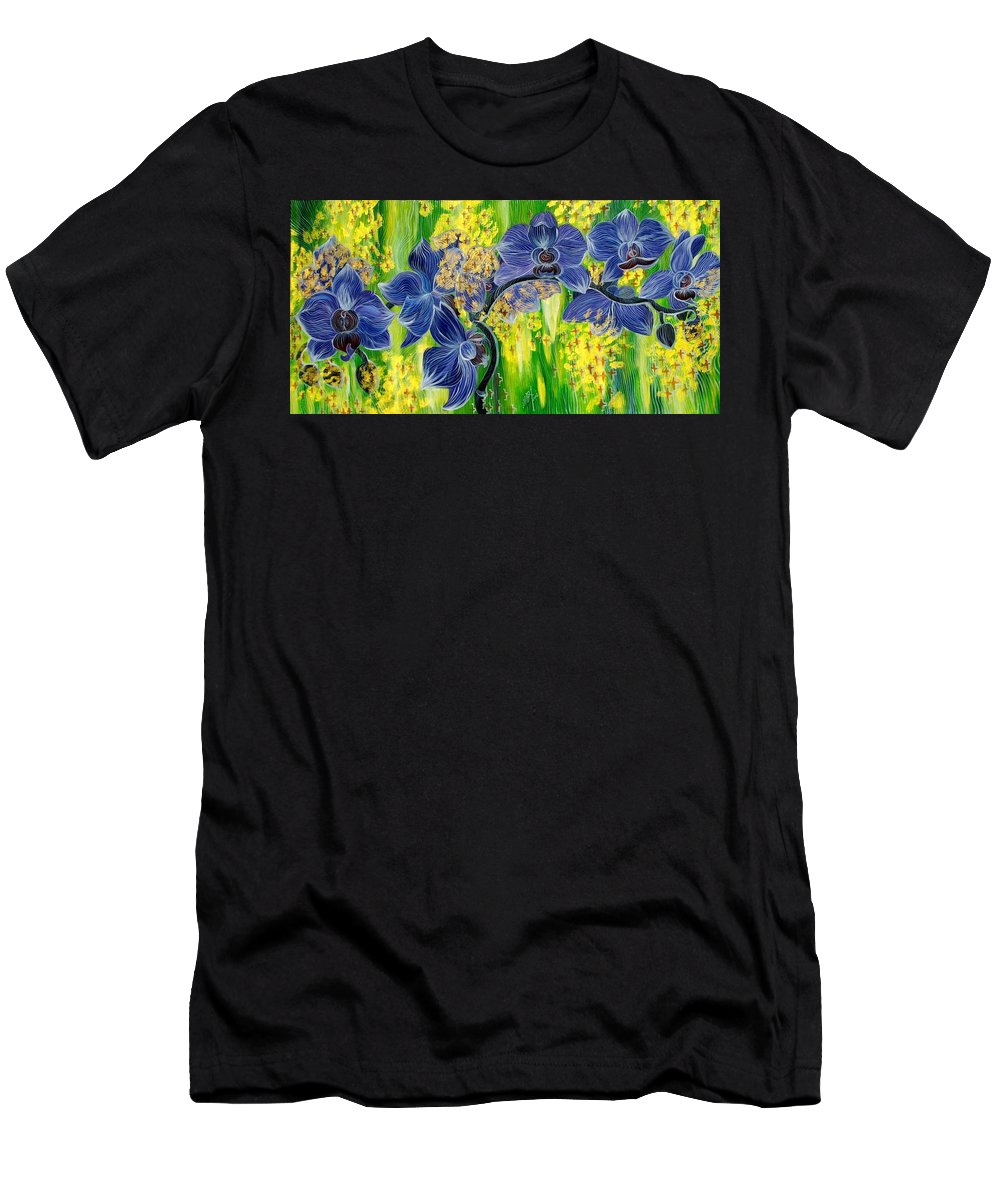 Inga Vereshchagina Men's T-Shirt (Athletic Fit) featuring the painting Orchids In A Gold Rain by Inga Vereshchagina
