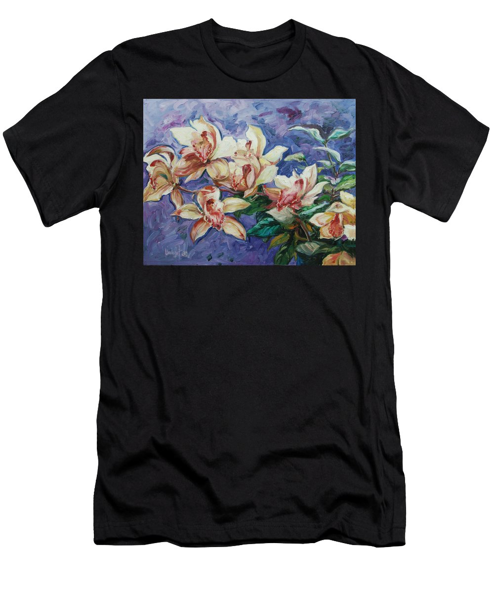 Flowers Men's T-Shirt (Athletic Fit) featuring the painting Orchids by Rick Nederlof
