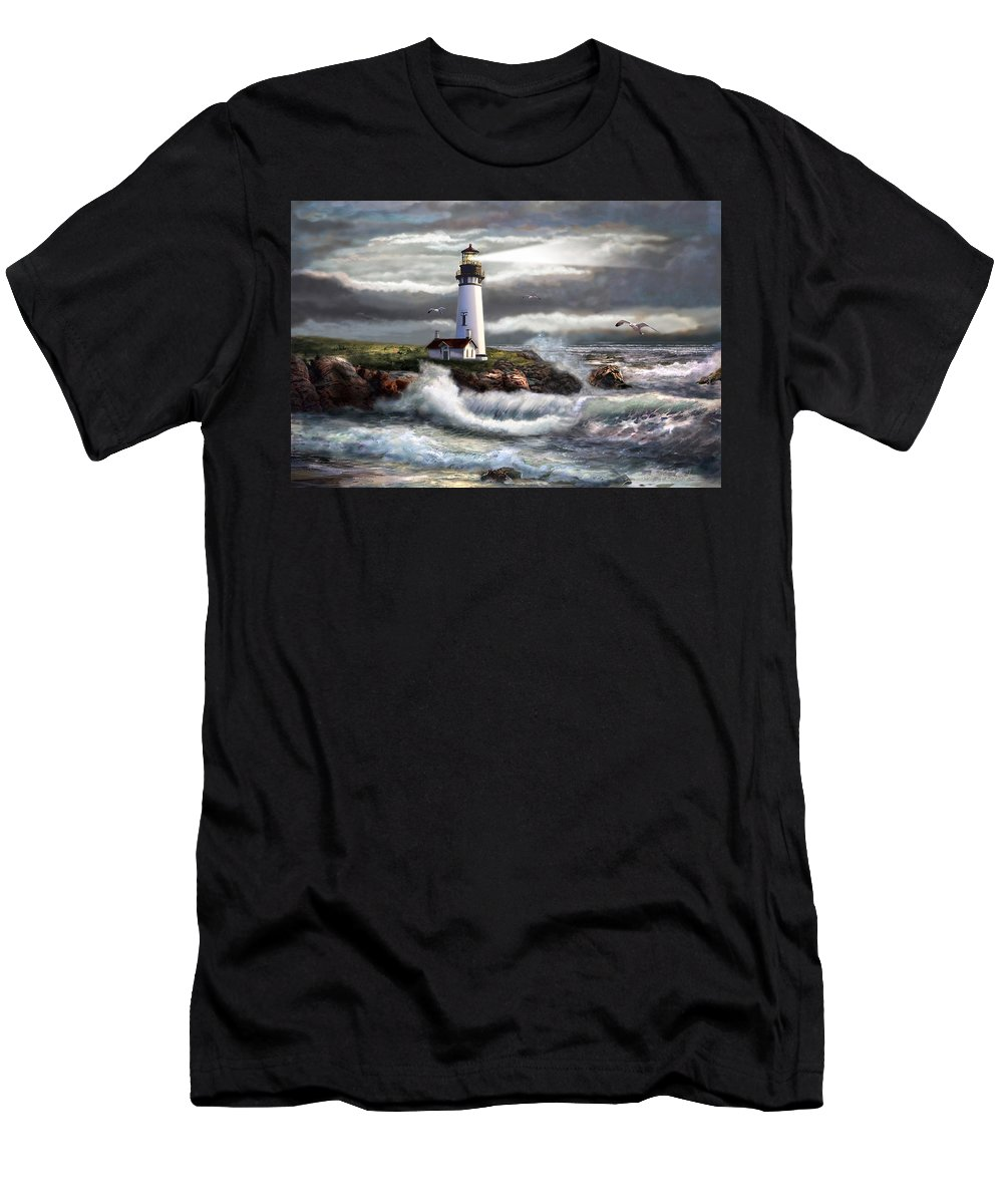 Seascape Art Men's T-Shirt (Athletic Fit) featuring the painting Oregon Lighthouse Beam Of Hope by Regina Femrite