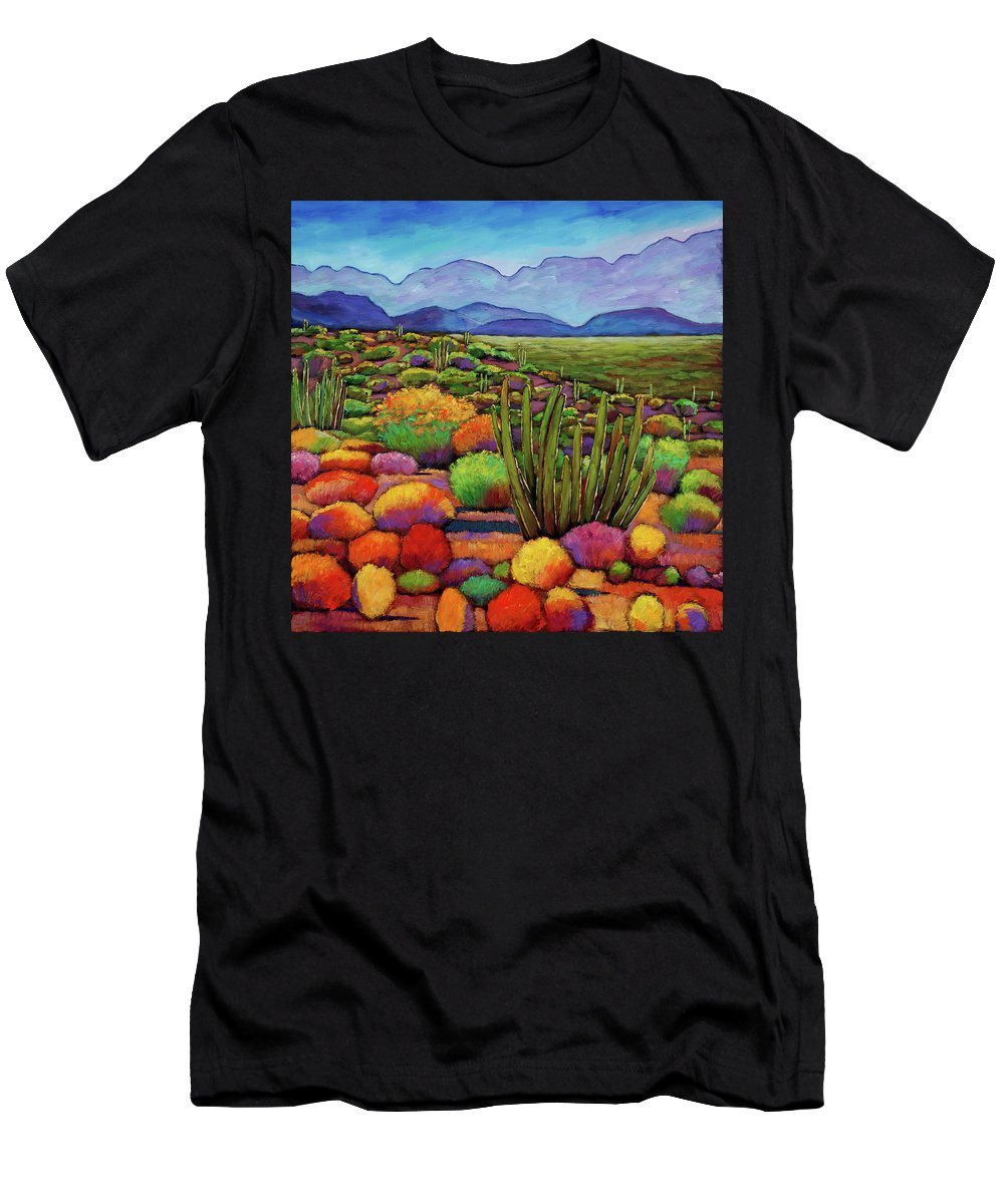 Desert Landscape Men's T-Shirt (Athletic Fit) featuring the painting Organ Pipe by Johnathan Harris