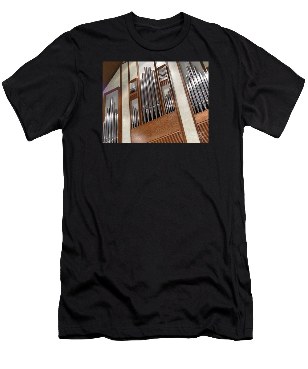 Music Men's T-Shirt (Athletic Fit) featuring the photograph Organ Pipes by Ann Horn