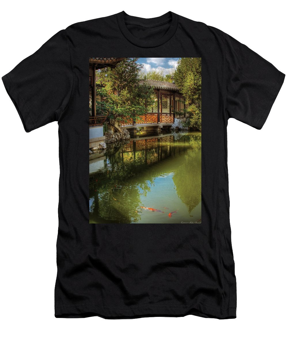Savad Men's T-Shirt (Athletic Fit) featuring the photograph Orient - Bridge - The Chinese Garden by Mike Savad