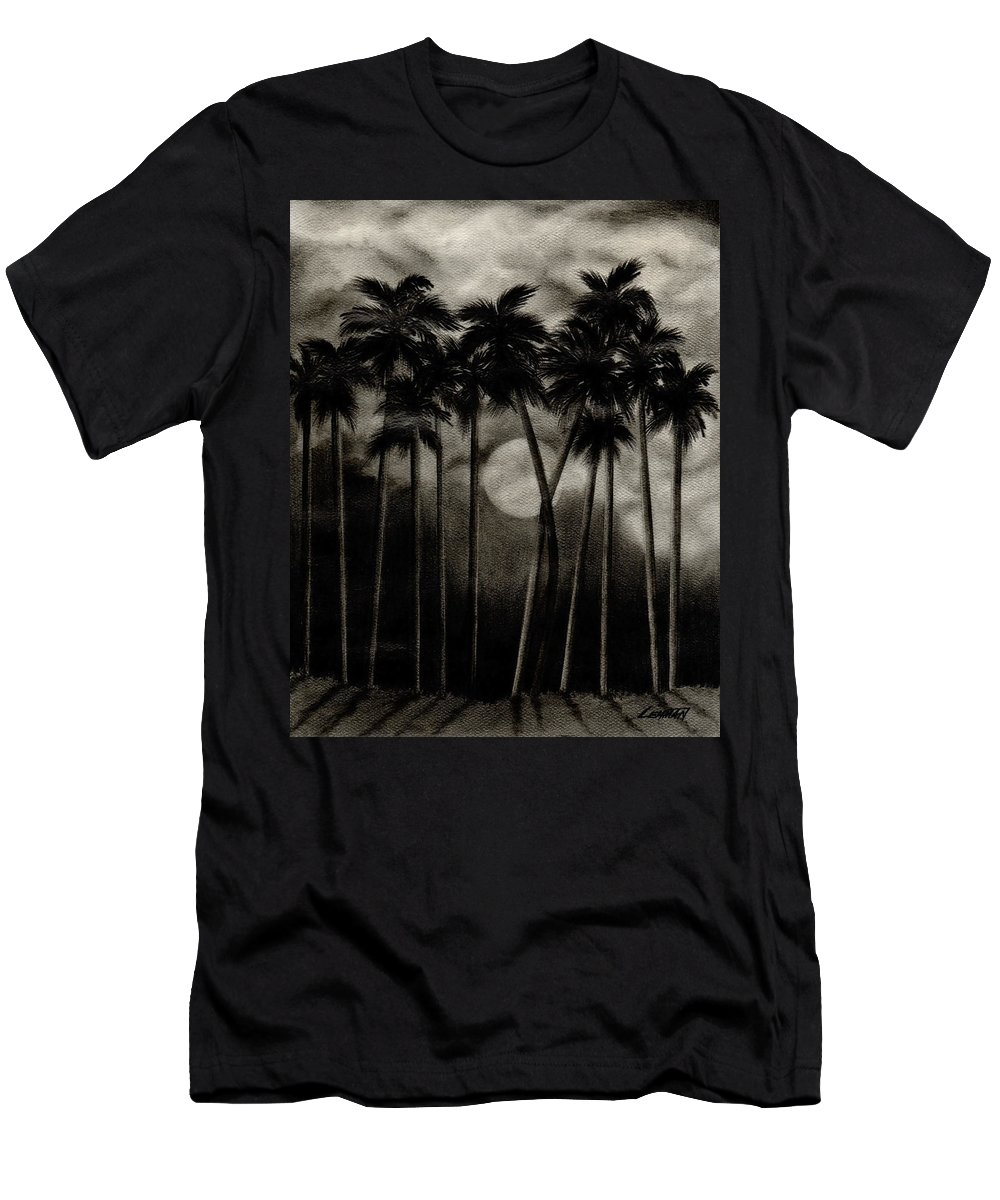 Original Moonlit Palm Trees Men's T-Shirt (Athletic Fit) featuring the drawing Original Moonlit Palm Trees by Larry Lehman