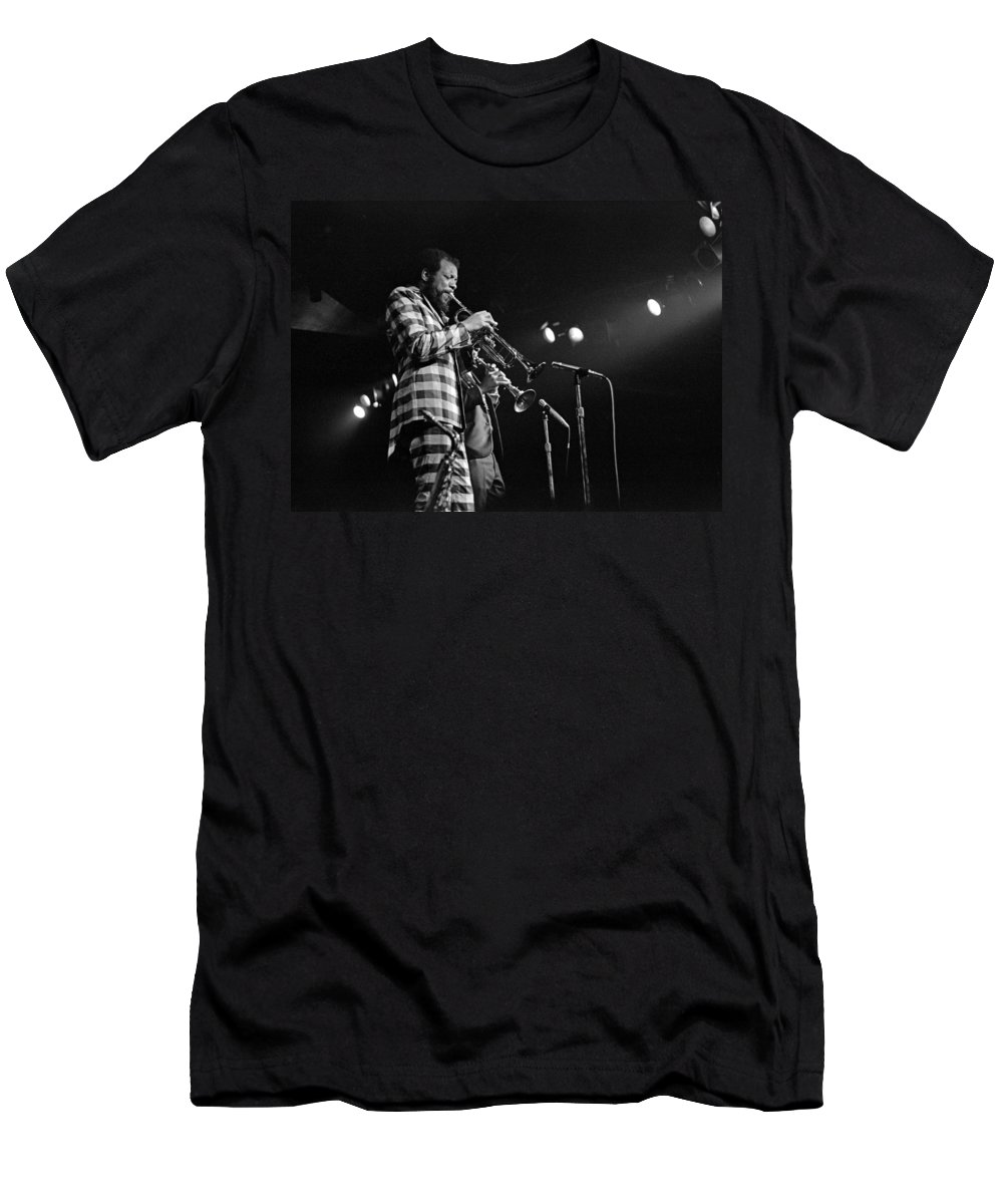 Ornette Colman Men's T-Shirt (Athletic Fit) featuring the photograph Ornette Coleman On Trumpet by Lee Santa
