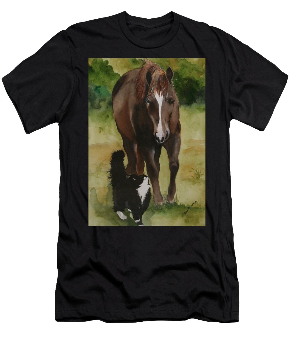 Horse Men's T-Shirt (Athletic Fit) featuring the painting Oscar And Friend by Jean Blackmer