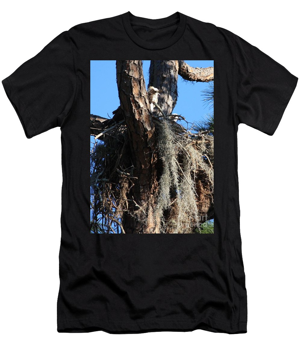 Osprey Nest Men's T-Shirt (Athletic Fit) featuring the photograph Ospreys In Spanish Moss Nest by Carol Groenen