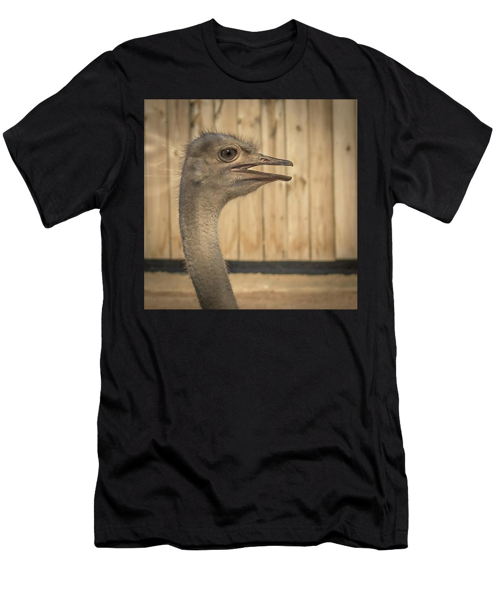 Ostrich Men's T-Shirt (Athletic Fit) featuring the photograph Ostrich by David Pine