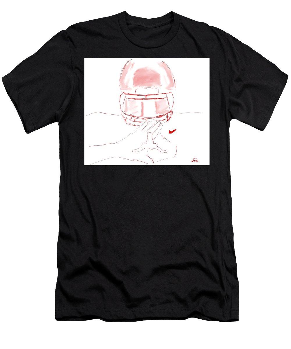 Ou Men's T-Shirt (Athletic Fit) featuring the digital art Ou Vs Texas by Jack Bunds