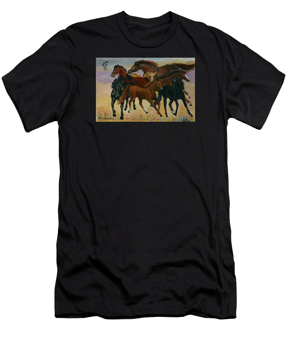 Horse Men's T-Shirt (Athletic Fit) featuring the painting Our Horses by Dawn Senior-Trask