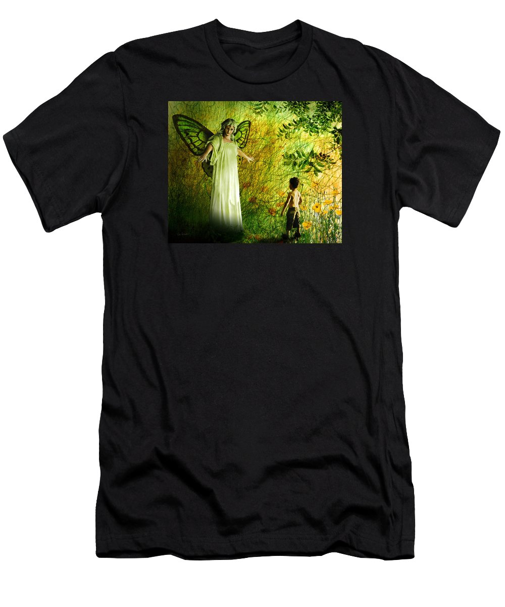 Angel Men's T-Shirt (Athletic Fit) featuring the painting Our Lady Of The Meadow by Van Renselar