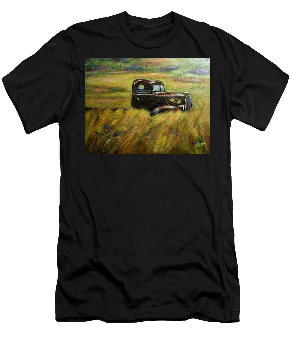 Vintage Truck T-Shirt featuring the painting Out To Pasture by Gail Kirtz