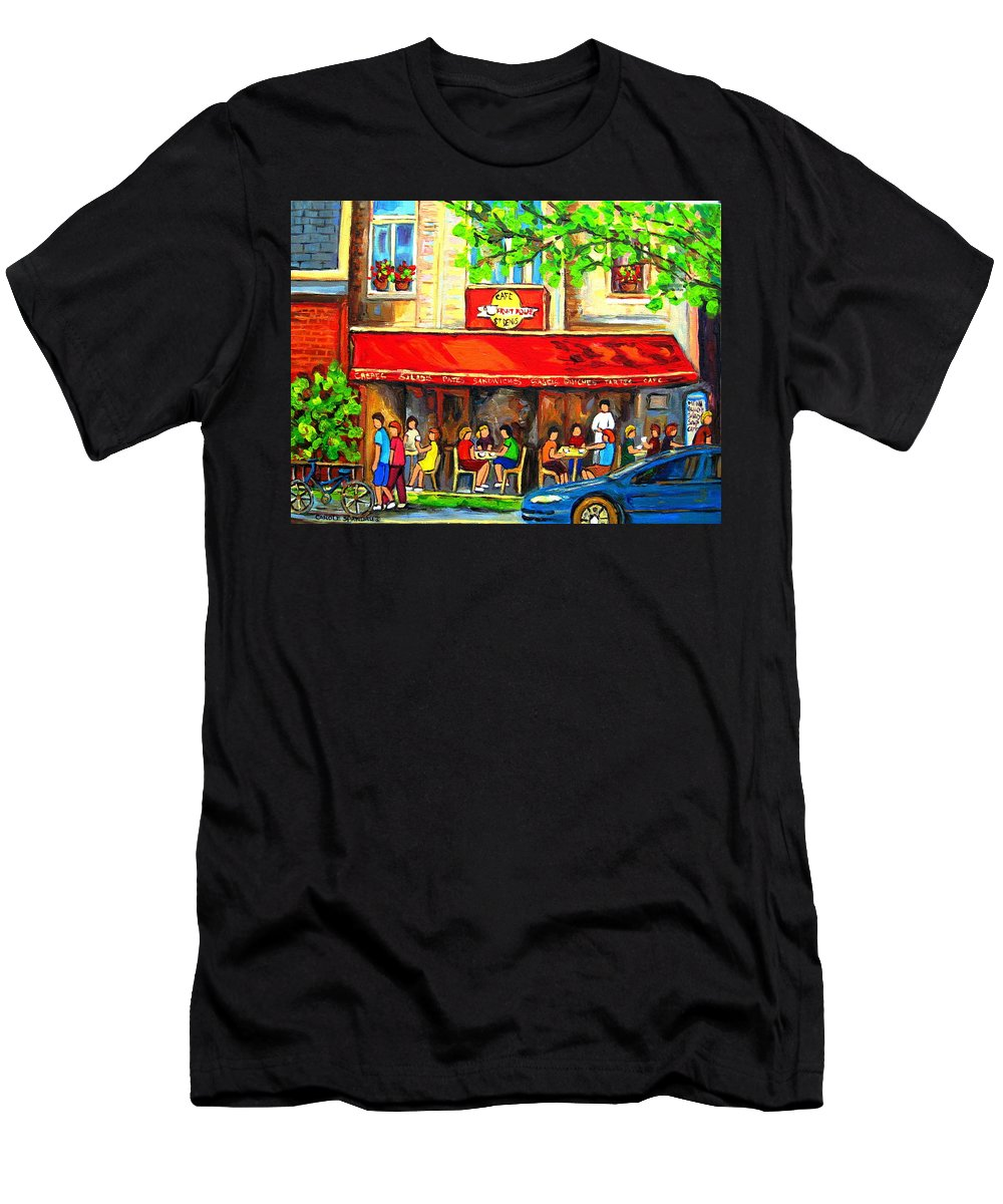Outdoor Cafe On St. Denis Men's T-Shirt (Athletic Fit) featuring the painting Outdoor Cafe On St. Denis In Montreal by Carole Spandau