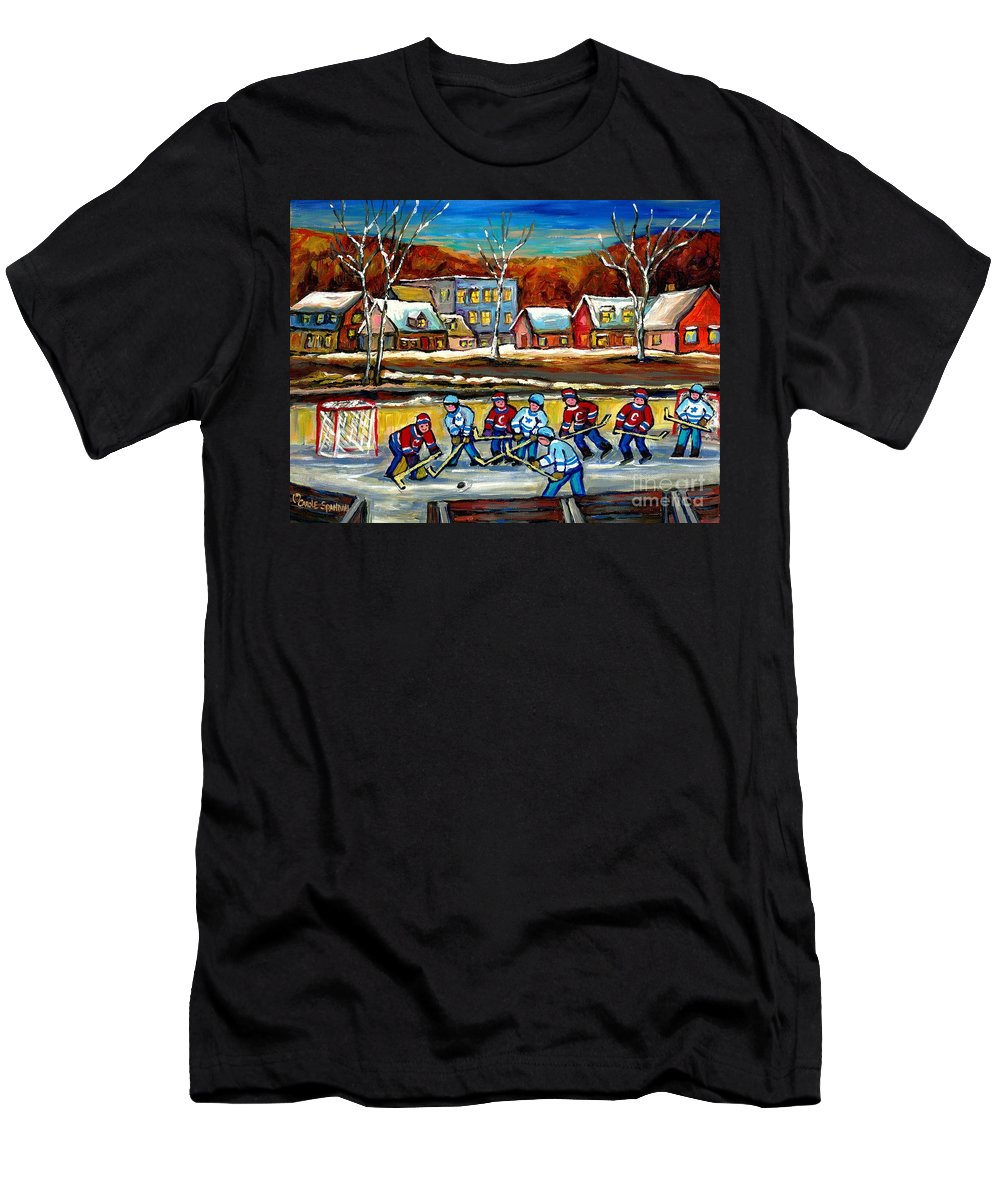Country Hockey Rink Men's T-Shirt (Athletic Fit) featuring the painting Outdoor Hockey Rink by Carole Spandau