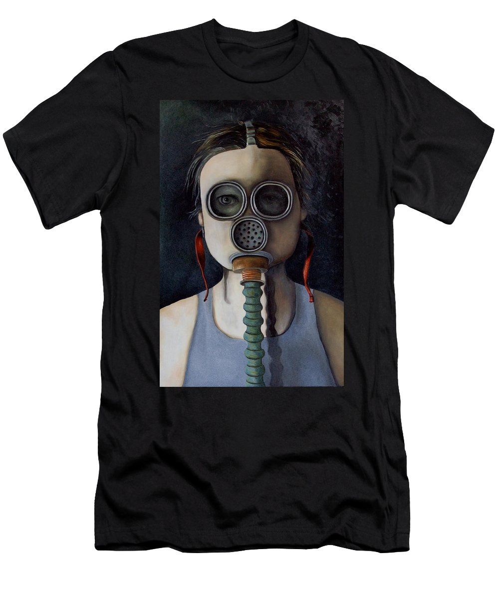 Mask Men's T-Shirt (Athletic Fit) featuring the painting Outsider 1 by Leah Saulnier The Painting Maniac