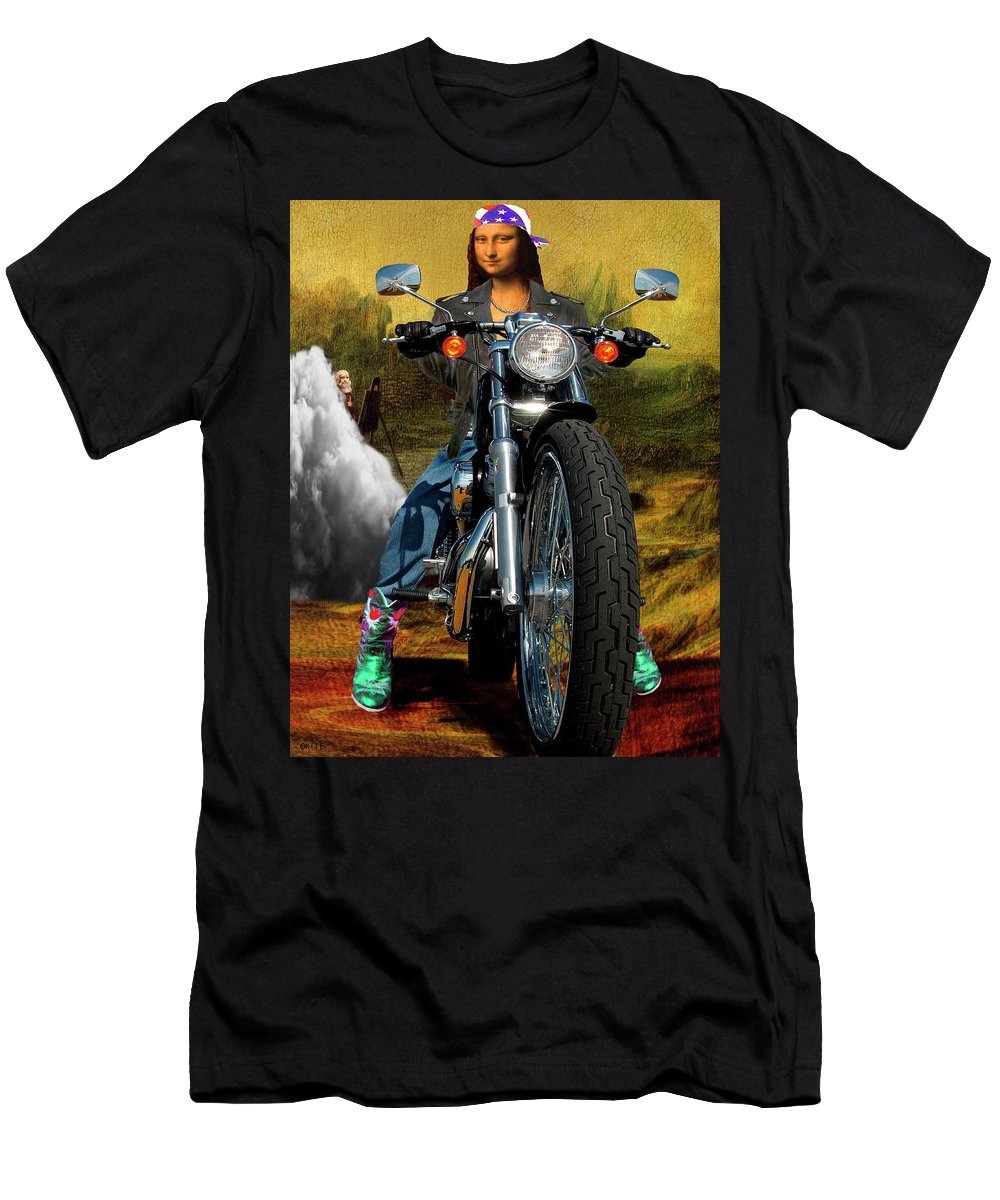 Mona Lisa Men's T-Shirt (Athletic Fit) featuring the digital art Outta Here by Barry Kite