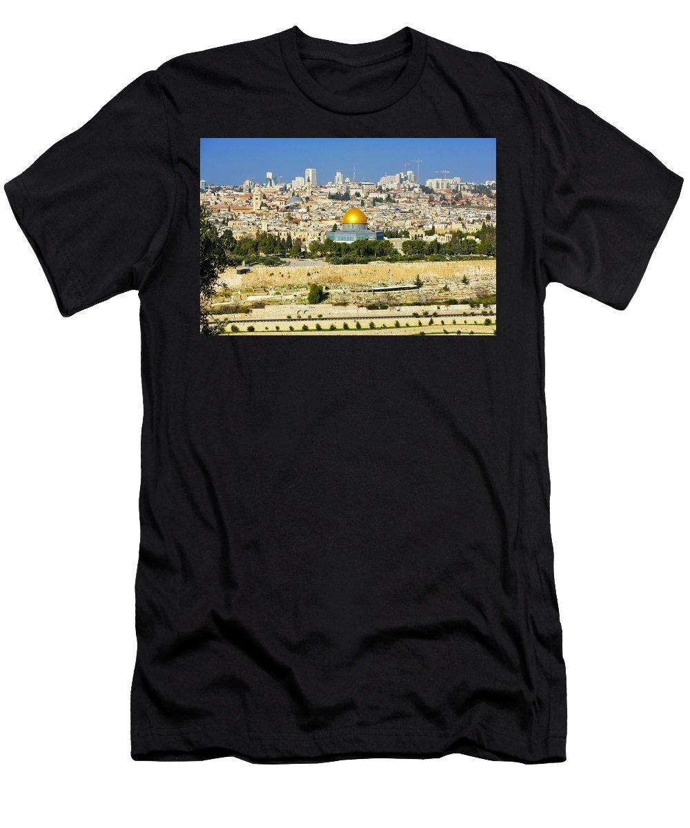 Jerusalem Men's T-Shirt (Athletic Fit) featuring the photograph Over Jerusalem by Barbara Stellwagen
