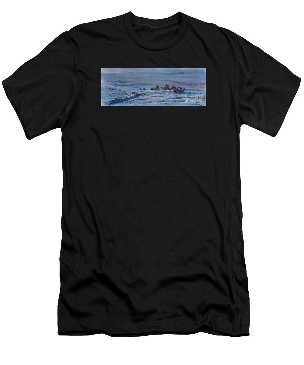 Winter Scene Paintings Men's T-Shirt (Athletic Fit) featuring the painting Over The Bridge And Through The Snow by Charlotte Blanchard