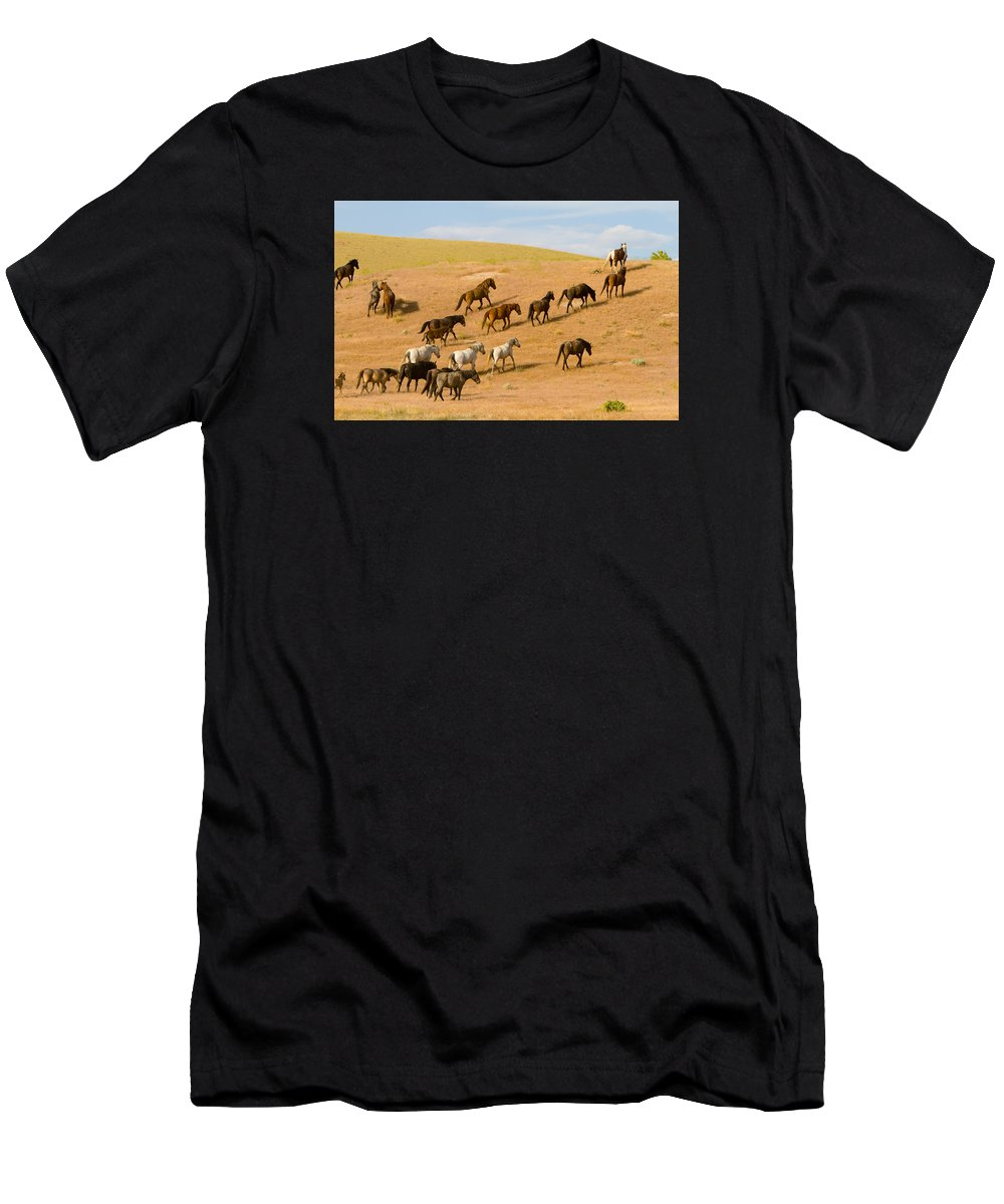 Wild Horse Men's T-Shirt (Athletic Fit) featuring the photograph Over The Hill by Kent Keller