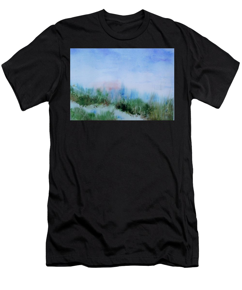 Landscape Men's T-Shirt (Athletic Fit) featuring the painting Overlook by Suzanne Udell Levinger