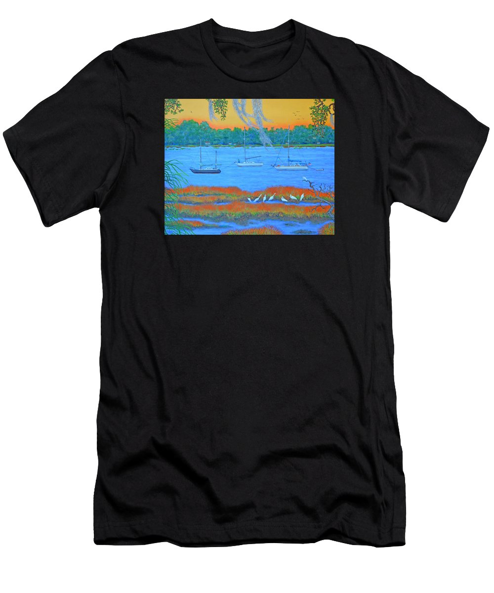 Beaufort Men's T-Shirt (Athletic Fit) featuring the painting Overnight In Beaufort by Dwain Ray