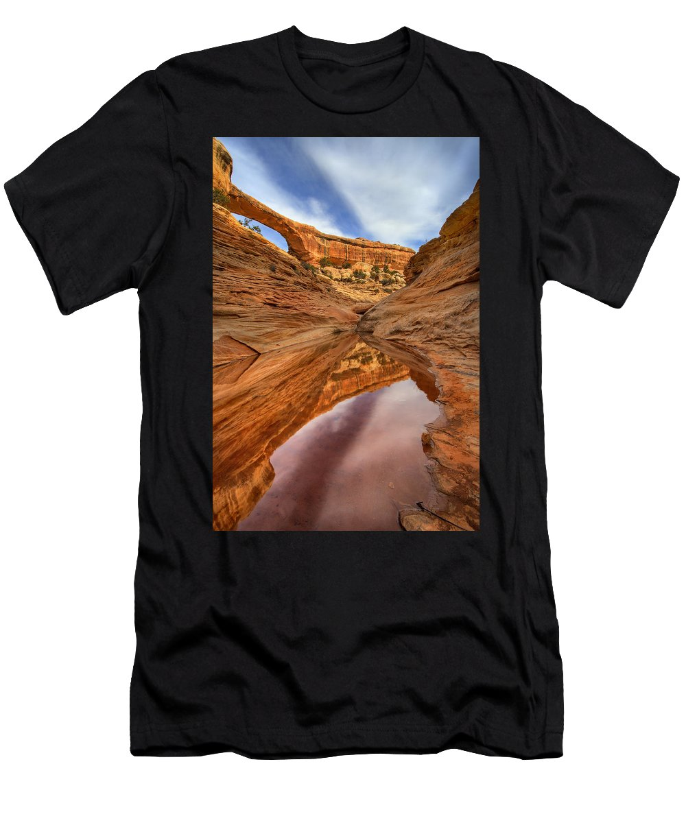 Bridge Men's T-Shirt (Athletic Fit) featuring the photograph Owachomo Reflected by Mike Dawson