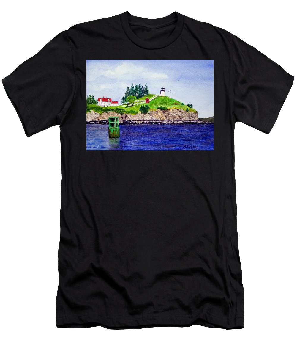 Lighthouse Men's T-Shirt (Athletic Fit) featuring the painting Owls Head Lighthouse by Mike Robles