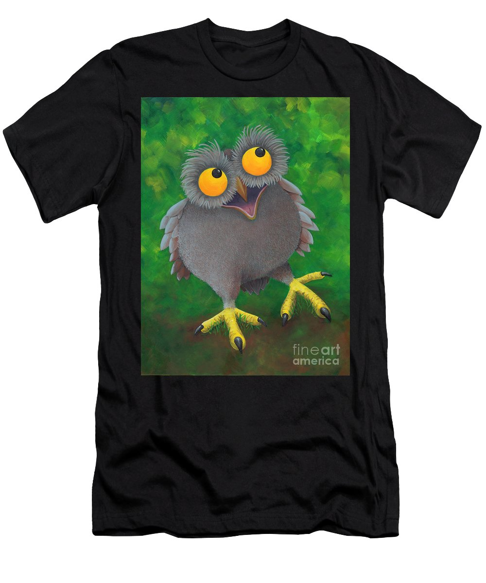 Hooters Men's T-Shirt (Athletic Fit) featuring the painting Owlvin by D Hummel-Marconi