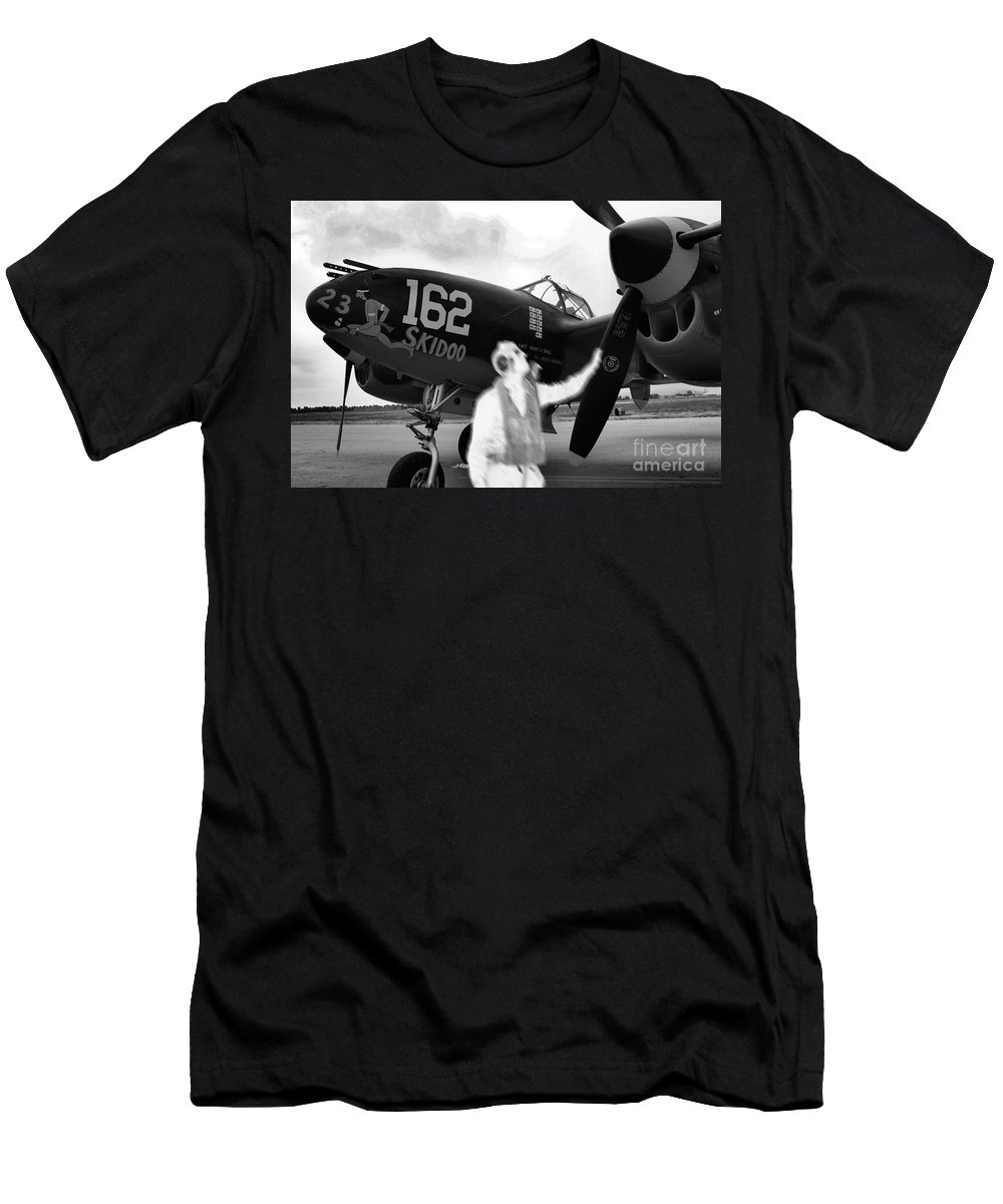 P-38 Men's T-Shirt (Athletic Fit) featuring the photograph P-38 Ghost Flight by Tommy Anderson