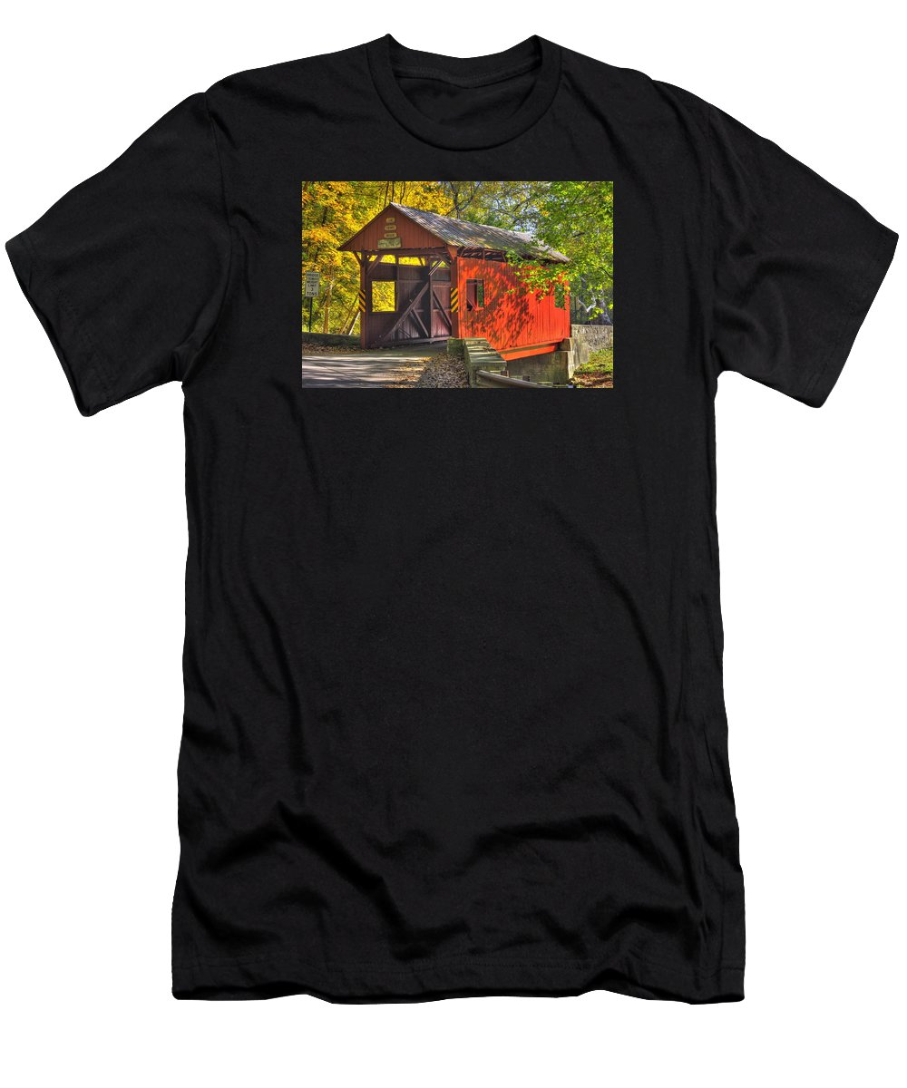 Henry Covered Bridge Men's T-Shirt (Athletic Fit) featuring the photograph Pa Country Roads - Henry Covered Bridge Over Mingo Creek No. 3a - Autumn Washington County by Michael Mazaika