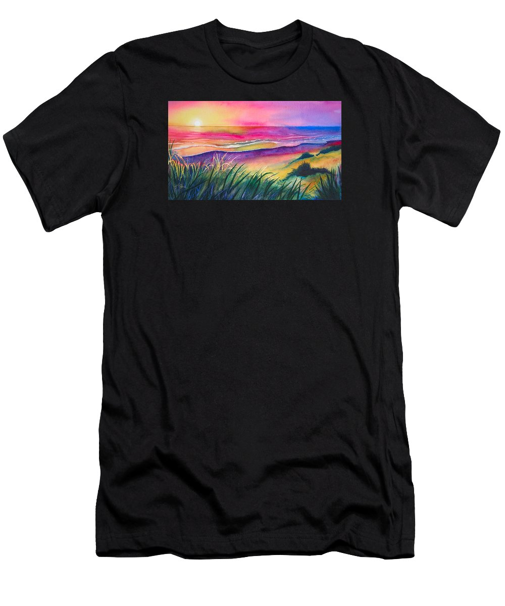 Pacific Men's T-Shirt (Athletic Fit) featuring the painting Pacific Evening by Karen Stark