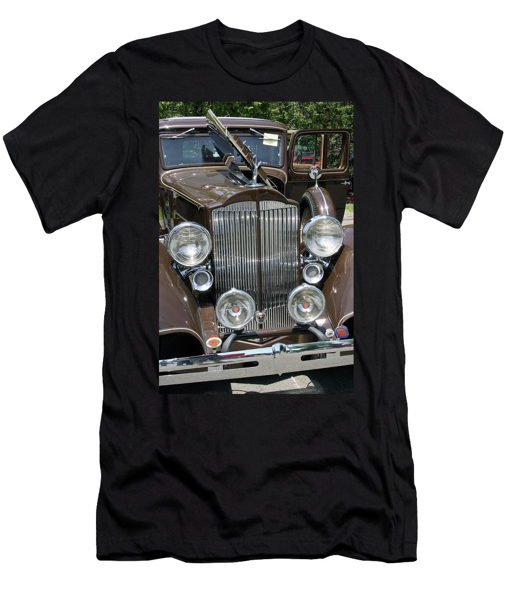Classic Cars Men's T-Shirt (Athletic Fit) featuring the photograph Packard Club Sedan Hood by Gerald Mitchell