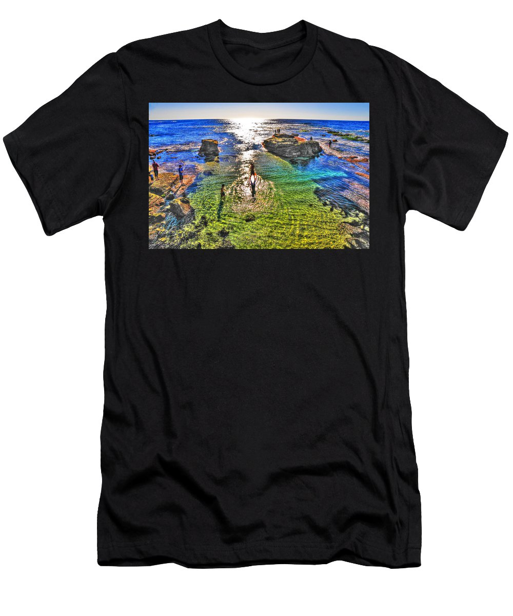 La Jolla Men's T-Shirt (Athletic Fit) featuring the photograph Paddle Boarding At La Jolla Beach by Randy Aveille