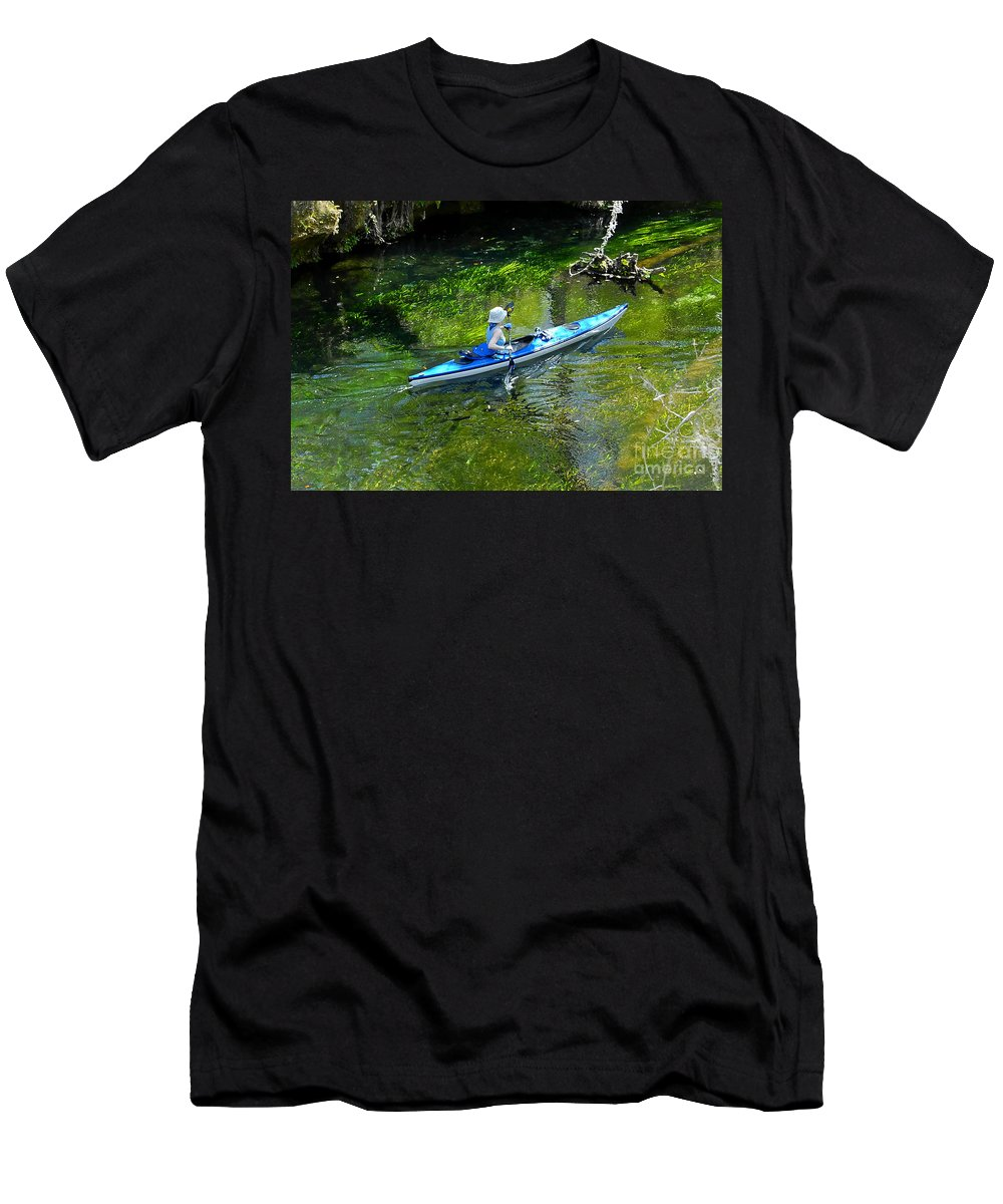 Ichetucknee Springs Men's T-Shirt (Athletic Fit) featuring the photograph Paddling The Ichetucknee by David Lee Thompson