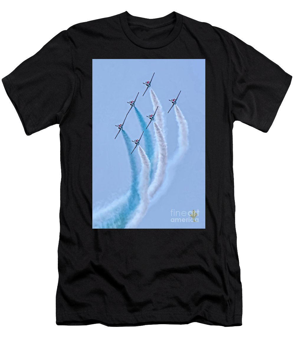 Paf Sherdils Aerobatic Team Men's T-Shirt (Athletic Fit) featuring the photograph Paf Shedilaerobatic Team Formation Flight by Syed Muhammad Munir ul Haq