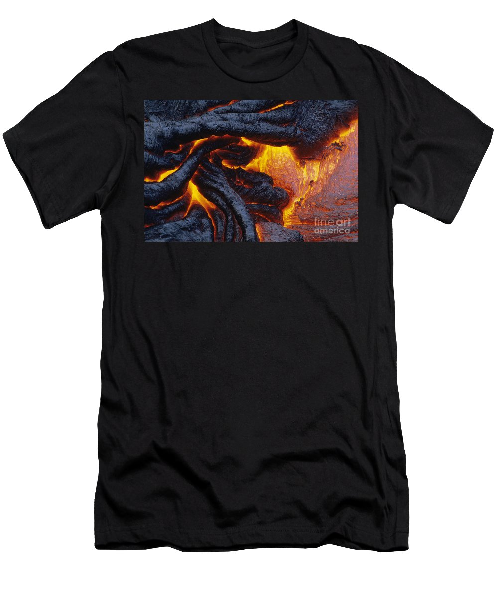 Abstract Men's T-Shirt (Athletic Fit) featuring the photograph Pahoehoe Lava Texture by Ron Dahlquist - Printscapes