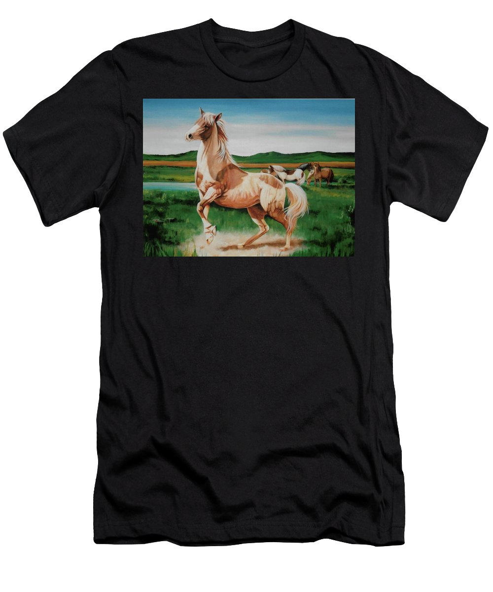 Horse Paintings Men's T-Shirt (Athletic Fit) featuring the painting Paint by DC Houle