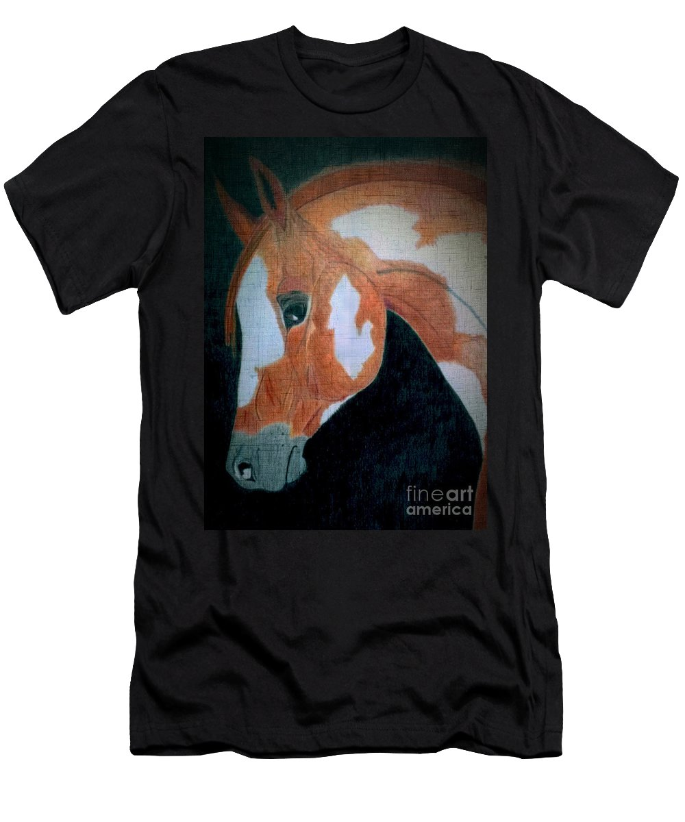 Paint Horse Men's T-Shirt (Athletic Fit) featuring the painting Paint Horse Color Pencil by LKB Art and Photography