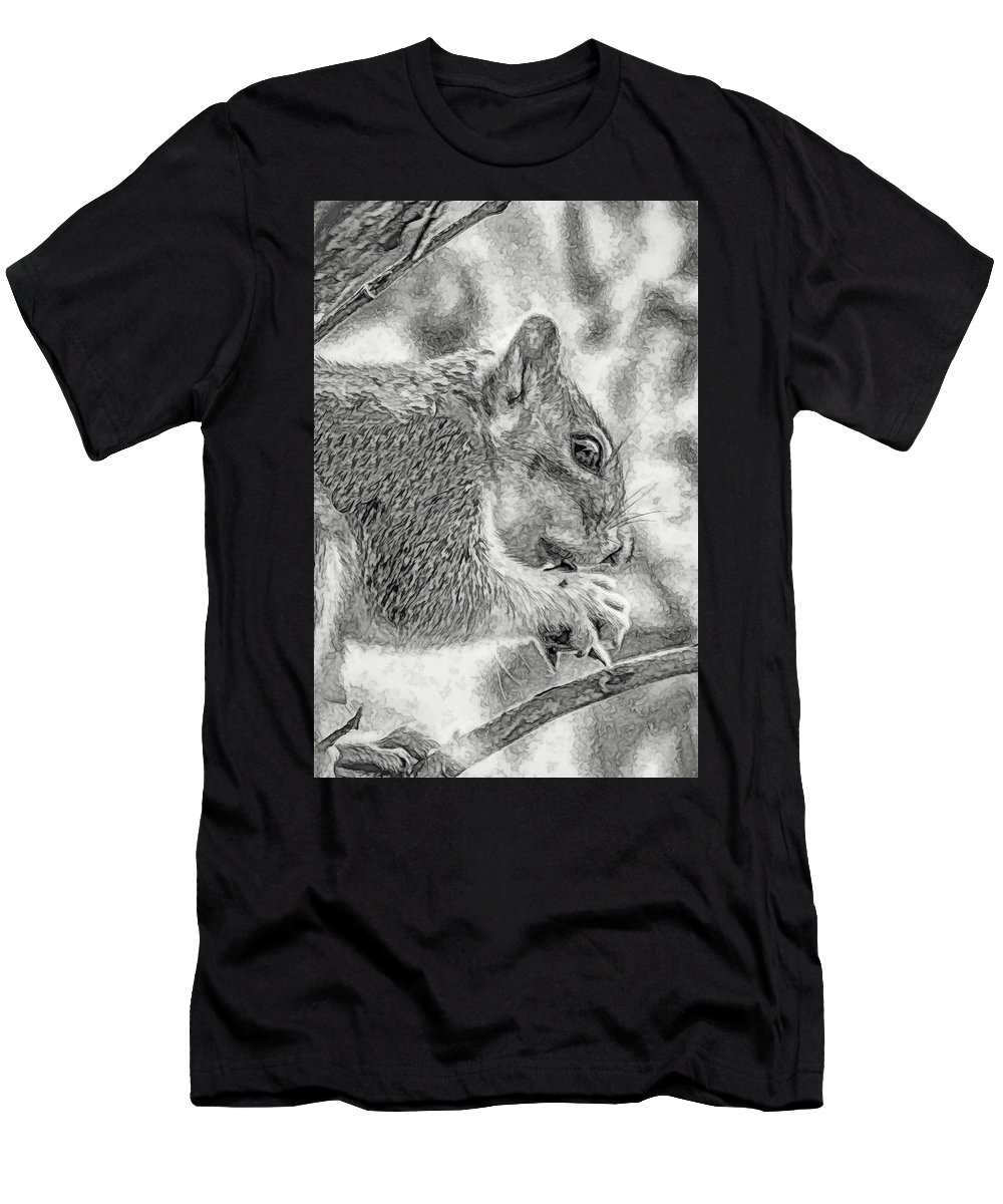Squirrel Men's T-Shirt (Athletic Fit) featuring the photograph Painted Squirrel by Marshall Barth